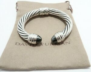David Yurman Sterling Silver 10mm Hinge Cuff bracelet with Hematite