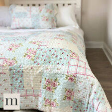 Pale Blue Country Cottage Patchwork Style Bedspread Floral Double King Super Set