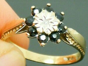 9ct Gold Sapphire & Diamond Cluster Vintage Ring size M