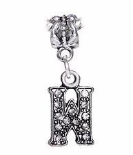 Letter W Clear Rhinestone Alphabet Initial Dangle Charm for European Bracelets