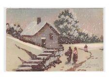 1947 cartolina d'epoca argentata auguri Buon Anno Nuovo paesaggio baita Ed.1942