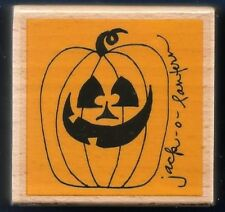 PUMPKIN FACE Jack-O-Lantern Halloween Card STUDIO G NEW wood RUBBER STAMP