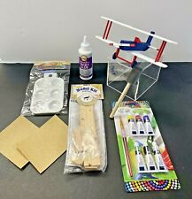 Bi-Plane All Wood Complete Project Kit - w/Acrylic Paint, Brushes, Glue, Palette