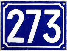 Large old French house number 273 door gate plate plaque enamel steel metal sign
