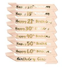 Happy Birthday Sash 16/18/21st/30/50/60th  Birthday Girl Sashes Rose Gold Party