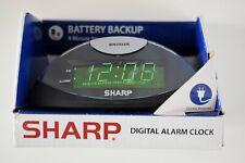 NEW SHARP Digital Alarm Clock Green LED Display in BLACK