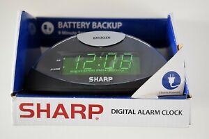 "NEW  SHARP Digital Alarm Clock 7"" Green LED Display  in BLACK"