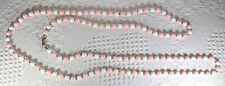 """Vintage Pink White Acrylic beads w gold tone metal beads - 56"""" necklace"""