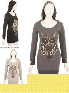 NEW WOMENS LADIES OWL PRINTED LONG SLEEVE HOODIE JUMPER SWEATSHIRT SIZES S/M