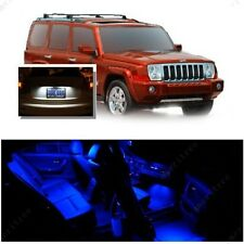 For Jeep Commander 2006-2010 Blue LED Interior Kit + White License Light LED