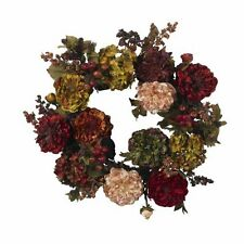 Nearly Natural 4911 Autumn Hydrangea Peony Wreath- 22-Inch- Red