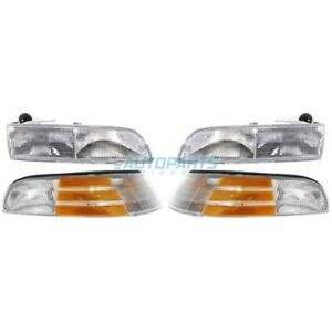 NEW HEADLIGHT & CORNER LIGHT PACKAGE FITS 1992-1997 FORD CROWN VICTORIA KITS 4