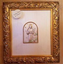 SALERNI St. Francis of Assi Sterling Silver Antique Gold Framed Picture