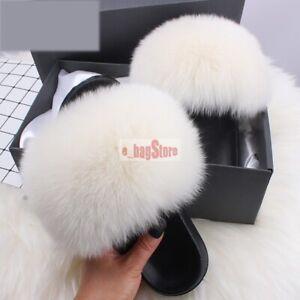2021 Women Fluffy Real Fox/Raccoon Fur Slides Slipper Outdoor Flat Shoes Sandals