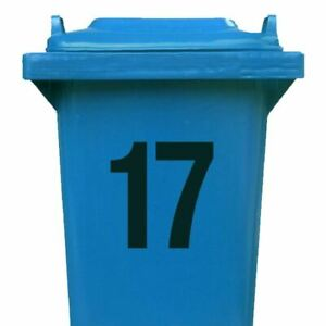 2 x House Number Stickers for Wheelie Bin (Available in Black or White Gloss)