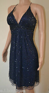 VICKY MARTIN blue sequin padded bust cocktail dress 10 BNWT  ball prom wedding