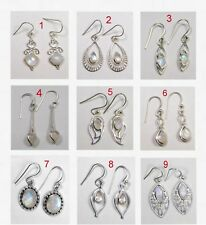 Natural Rainbow Moonstone Earring Danglers 925 Sterling Silver Jewelry ME2655