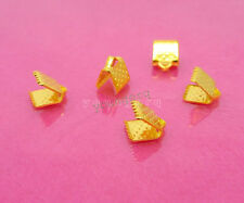 100x Gold Plated Ribbon Clamps Crimp End Beads 6mm Jewelry Making Findings