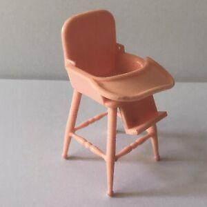Vintage Renwal Dollhouse Baby Highchair Dark Pink Coral No. 30 3.5 inch Tray