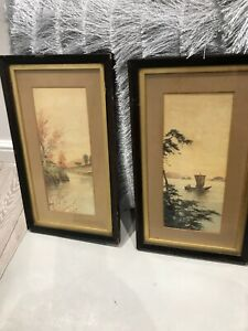 Pair Of Antique Framed Watercolours Oriental River Scenes Army Navy Westminster