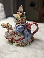 1992 Fitz & Floyd - Victorian Mother Bunny Rabbit 40 OZ Teapot - Very Rare!