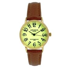 Ladies, Easy Read Watch Glow in the Dark Face Gold Case & Brown Strap by Azaza