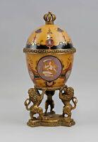 99973204-dss Dose Löwe Keramik/Bronze Historismus H25cm