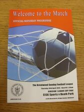 16/04/2015 Brentwood Sunday League Division 1 Cup Final: CISK Sports v Heath Par