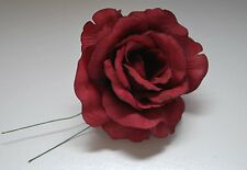 "8 X Burgundy Wedding Roses 3.5"" Flower Favor Wired Stem Silk Mis Quince Flower"