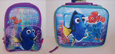 "Disney FINDING DORY NEMO 16"" School Travel BACKPACK & LUNCH BAG Lunchbag Box NEW"