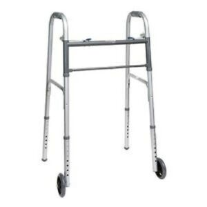 PMI Economy Two-Button Folding Steel Adult Walker, With Wheels 350 lb Capacity