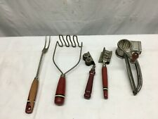 Vintage  Kitchen Utensils LOT of 5 Red Wood Handles