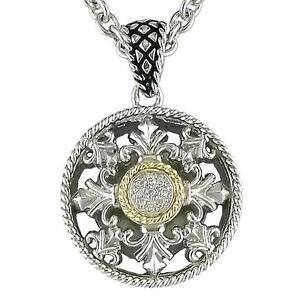 Andrea Candela 18k Gold & Sterling Diamond Fluer De Lis Halo Necklace ACP192/03