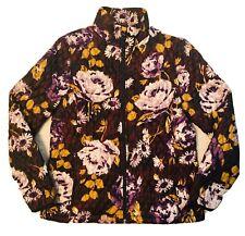 LANDS END Women Jacket Purple Floral Quilted Puffer Packable Coat Sz. M