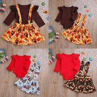 2PCS Newborn Toddler Baby Girl Outfits Clothes Set Romper Tops+Strap Skirt Dress