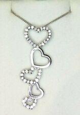 BEVILLES 925 Sterling Silver Stirling Open Hearts Heart Drop Dangle Necklace