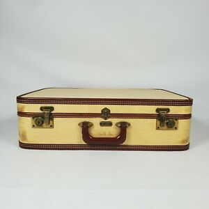 Vintage Oshkosh Straw Yellow Suitcase 1940s 1950s Luggage Decor