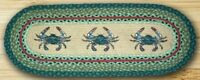 Earth Rugs 64-359BC Oval Shaped Runner Rug Blue Crab