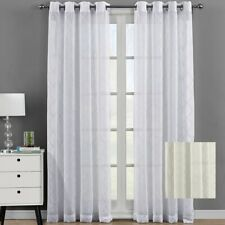 Modern Harvard Embroidered Panels Grommet Top Sheer Window Curtain ( Set of 2 )
