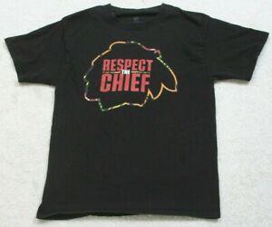 Hanes Respect The Chief Short Sleeve Crewneck Graphic Tee T-Shirt Black Medium