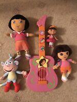 Dora The Explorer Musical Guitar Radio  Figure 3 X Plush Toy - BUNDLE
