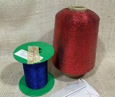 BIG Cone Red + Small Cone Blue Soft-Twist Ex-Fine Metallic Yarn/thread, 2 cones