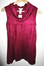 BRITTANY BLACK KNIT TOP Small S Red Wine Jersey Knit Sleeveless Ruched Cowl NWT