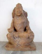 Antique Old Rare Hand Carved Fine Work Marble Stone South Indian Goddess Statue