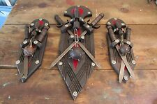 Vintage Medieval Wall Art Decor Removable Swords & Wooden Mace Plaques Gothic