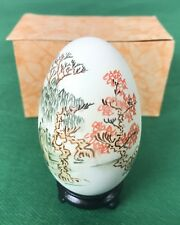Vintage Oriental Chinese Hand Painted Signed Egg, Trees, Bonsai, 6a