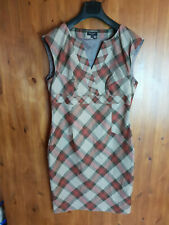 TED BAKER SHIFT DRESS Brown Checked Wiggle Work Office SIZE 4 / 14 / 42 - NEW