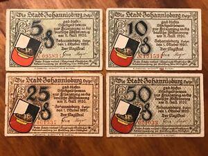 1920 Germany Johannisburg 5, 10, 25, 50 Pfennig Notgeld (4)