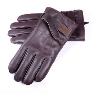 Men's Winter Warm Real Leather Sheepskin Shearling Lining Motorcycle Gloves