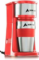 AdirChef Red Grab N' Go Personal Coffee Maker with 15 oz Travel Mug